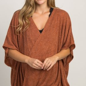 brown 300x300 - Rust Wrap Front Maternity Nursing Top