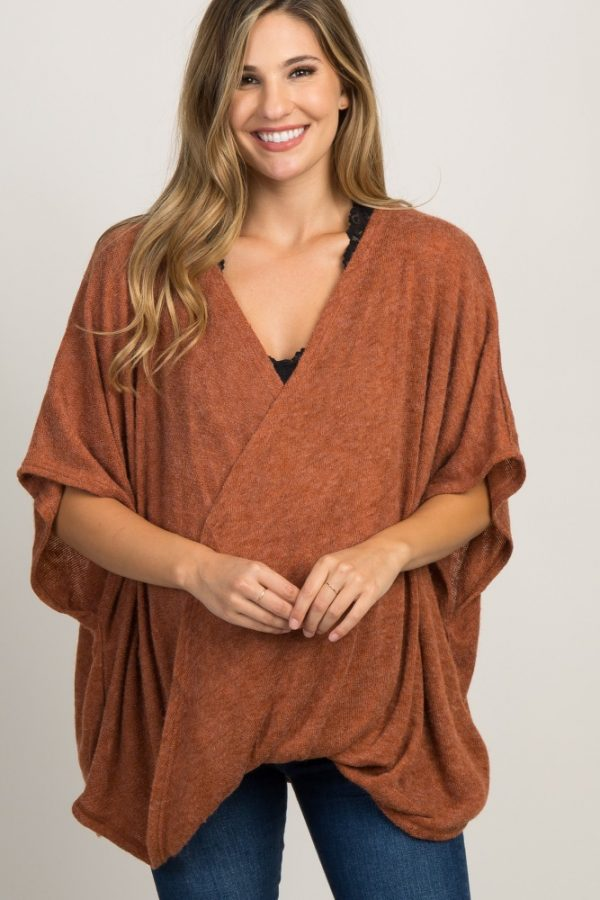 brown 600x900 - Rust Wrap Front Maternity Nursing Top