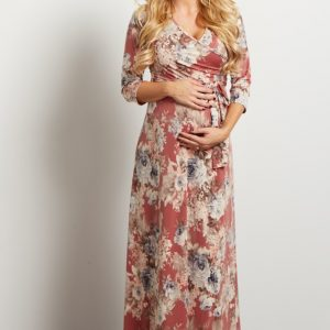 pink 300x300 - PinkBlush Navy Floral Maternity/Nursing Wrap Dress